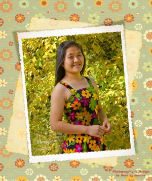 Mengyuan High School Senior Portrait with Daisy Whimsy Scrapbook Borders