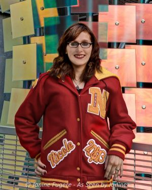 Nicole Letter Jacket by Colored Glass Sculpture Pose 1
