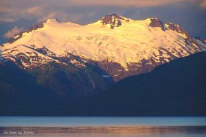 Chugach Mountains View from Kayak in Prince William Sound, Alaska