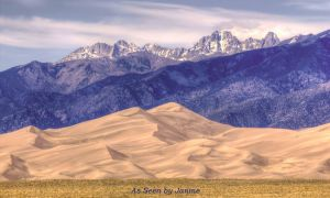 Star Dune Framed by the  Sangre de Cristo Mountains in Great Sand Dunes National Park Colorado