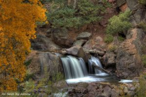 Waterfall and Fall Foliage in Eldorado Canyon State Park