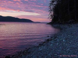 Sunset at High Island Kayak Camp in Gwaii Haanas/ Queen Charlotte Islands