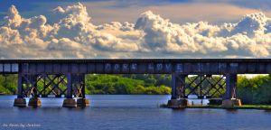More Love Railroad Bridge Over Turkey Creek Melbourne Florida with Intense Cloudscape