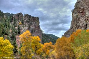 Canyon Formations Fall Foliage and Intense Clouds in Eldorado Canyon State Park