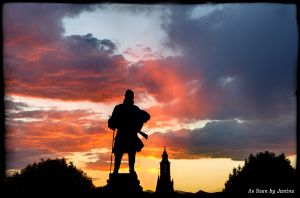 Civil War Memorial Soldiers Monument at Sunset Colorado State Capital in Denver