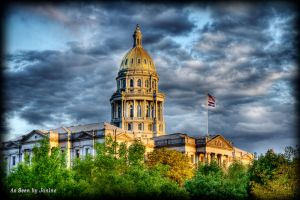 Colorado State Capital Building in Denver - High Dynamic Range Painterly Style