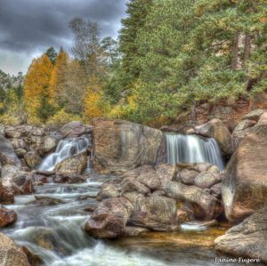 Gently They Fall - Waterfalls in Autumn in Eldorado Canyon State Park - Square Format