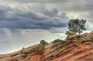 Red Rocks Park with Cloudscape & Trees on Hillside - Morrison