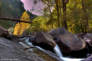 Waterfall with Bridge and Pink Sunset in Eldorado Canyon State Park
