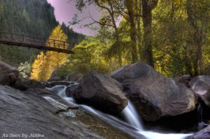 c31-3a-Waterfall with Bridge and Pink Sunset in Eldorado Canyon State Park.jpg