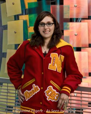 Nicole Letter Jacket by Colored Glass Sculpture Pose 2